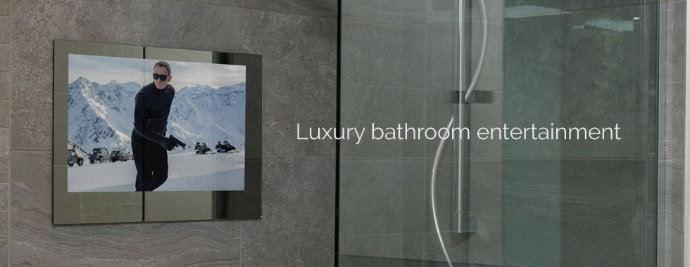 bathroom tv.  Waterproof bathroom televisions amd music systems from WaterVue